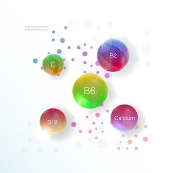Siero e vitamina sfondo blu concetto cosmetico per la cura della pelle. calcio, b1, b2, b6, b12, a, c, d, vitamina