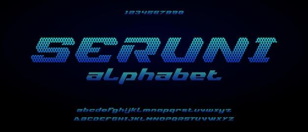 Seruni, alfabeto futuristico moderno digitale sportivo con modello di stile urbano