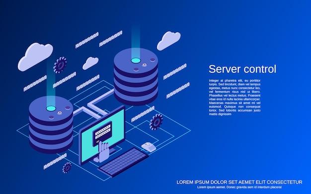 Controllo del server, sicurezza della rete, illustrazione del concetto di vettore isometrico piatto di protezione dei dati