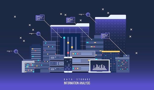 Data center del server, illustrazione piatta. tecnologia di rete internet e cloud informativo per l'archiviazione