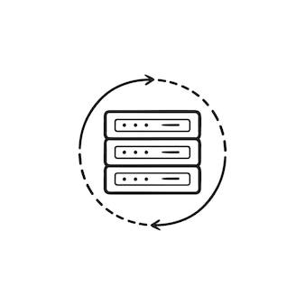 Icona di doodle di contorno disegnato a mano di ricarica del server. aggiorna il database, l'amministrazione del server e il concetto di gestione