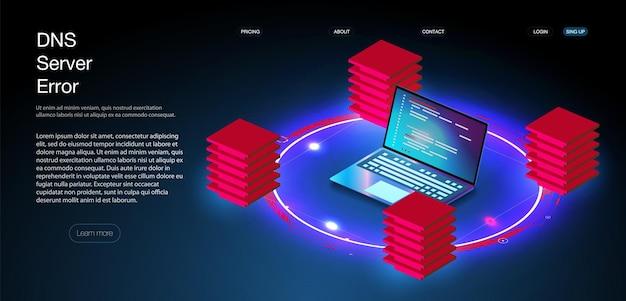 Sala server isometrica, dati di archiviazione cloud, data center, elaborazione di grandi dati e tecnologia informatica. errore del server dns e guasto globale di tutti i social network