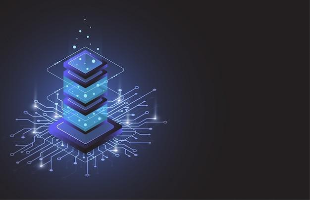 Sala server isometrica, dati di archiviazione cloud, data center, big data