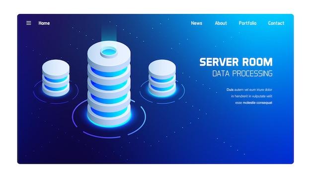 Illustrazione isometrica di vettore della stanza del server, elaborazione di big data, tecnologia futuristica