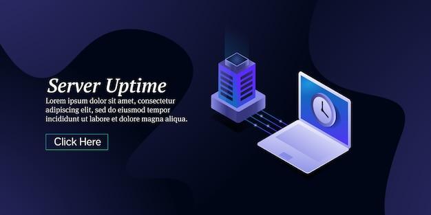 Tempo di attività del server e banner isometrico di web hosting