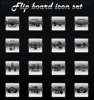 Icone meccaniche flip di vettore del server per la progettazione dell'interfaccia utente