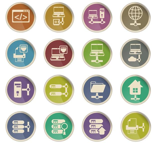 Icone vettoriali del server sotto forma di etichette di carta rotonde
