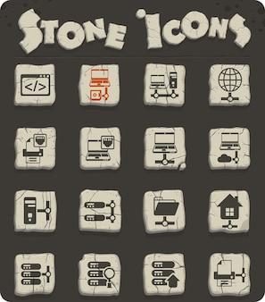 Icone vettoriali del server su blocchi di pietra in stile età della pietra per il web e la progettazione dell'interfaccia utente