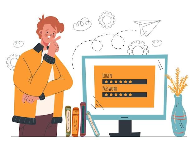 Illustrazione disegnata a mano del fumetto di accesso al servizio