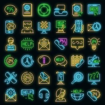 Set di icone del centro servizi. delineare l'insieme delle icone vettoriali del centro servizi colore neon su nero