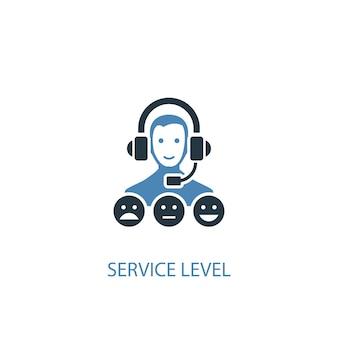 Livello di servizio concetto 2 icona colorata. illustrazione semplice dell'elemento blu. disegno di simbolo del concetto di livello di servizio. può essere utilizzato per ui/ux mobile e web