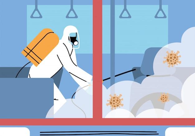Assistenza per la disinfezione della metropolitana con coronavirus o covid 19