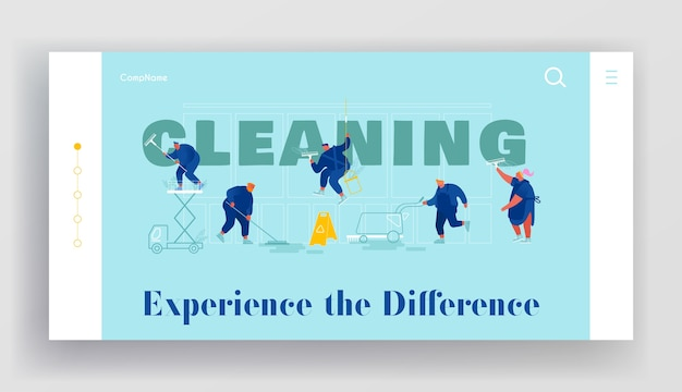 Pagina di destinazione del sito web di servizi di pulizia professionale.