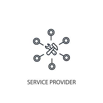 Icona della linea del concetto di fornitore di servizi. illustrazione semplice dell'elemento. disegno di simbolo di struttura del concetto di fornitore di servizi. può essere utilizzato per ui/ux mobile e web
