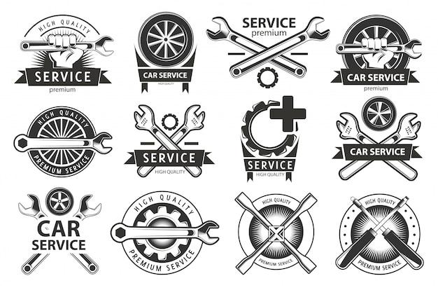 Servizio, set di riparazione di etichette o loghi. lavori di manutenzione.