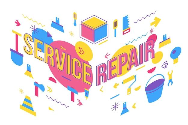 Progettazione dell'insegna di concetto di parola di riparazione di servizio. illustrazione della vista prospettica dell'officina di manutenzione