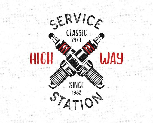 Disegno dell'emblema della stazione di servizio in stile retrò