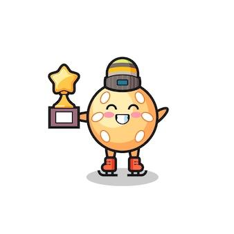 Il fumetto della palla di sesamo come un giocatore di pattinaggio sul ghiaccio tiene il trofeo del vincitore, un design in stile carino per t-shirt, adesivo, elemento logo