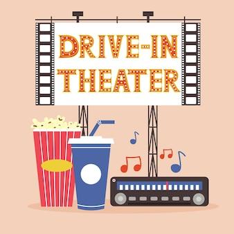 Sessione di teatro drive-in con popcorn e radio. visione di film all'aperto. un cinema nella natura per innamorati e un folto gruppo di amici. utile passatempo con i propri cari. illustrazione piana di vettore moderno