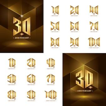 Set da 10 a 100 design del logotipo dell'anniversario d'oro