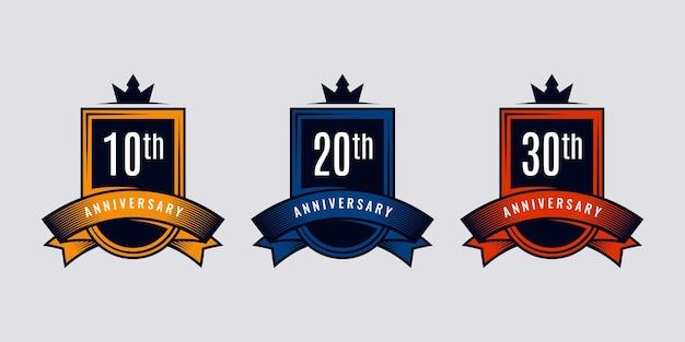 Set 10 20 30 anni anniversario emblema temaplate design