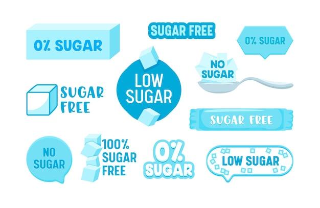 Set di badge senza zucchero al 100% zero