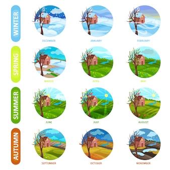 Set di 12 mesi dell'anno. stagione invernale, primaverile, estiva e autunnale. paesaggio naturale. elementi per calendario o app mobile