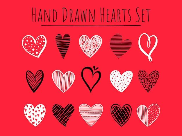 Set di 15 cuori in bianco e nero disegnati a mano su sfondo rosso, semplici forme vettoriali per biglietti di auguri, inviti di nozze, striscioni, sfondi, design tessile.