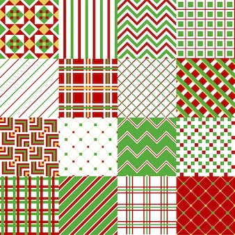 Set di 16 motivi natalizi tradizionali colorati. illustrazione vettoriale