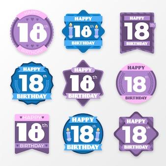 Set di 18 badge di compleanno