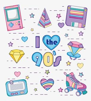 L'insieme dei fumetti degli anni 90 vector la progettazione grafica dell'illustrazione