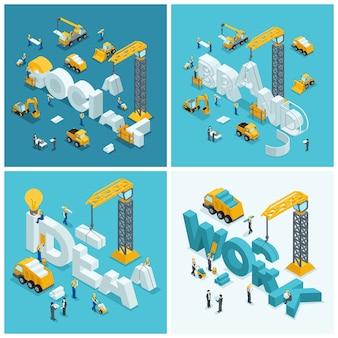 Set 2 concetto di costruzione isometrica