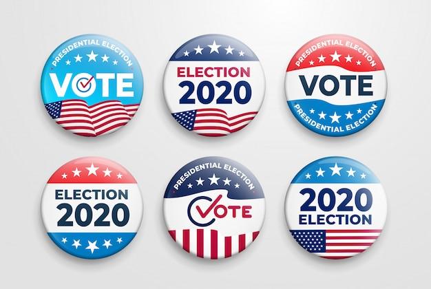 Insieme dei distintivi di elezioni presidenziali degli stati uniti d'america del 2020