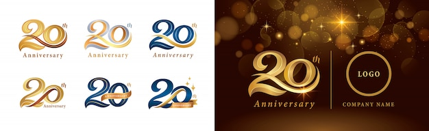 Set di design del logotipo del 20 ° anniversario, twenty years celebrating anniversary logo