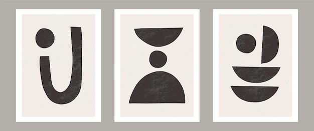 Set di 3 stampe d'arte boho, forme nere minimali su beige