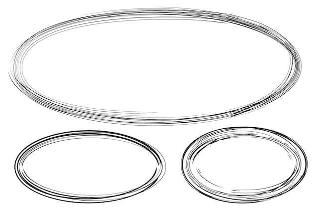 Set 3 cornici ovale da disegno a mano da più black thic market