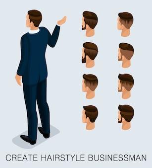 Set 3 uomo d'affari 3d isometrico alla moda