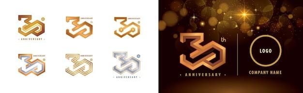 Set di logo del 30 ° anniversario celebrazione dell'anniversario di trent'anni 30 anni logo hexagon infinity Vettore Premium