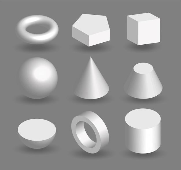 Insieme di forme geometriche 3d