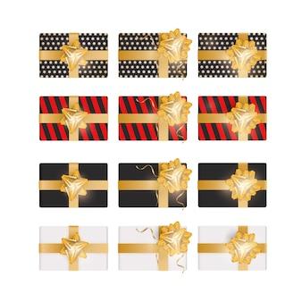 Set di confezione regalo 3d. la collezione di regali realistici è una vista dall'alto. elemento di design sul tema delle vacanze. illustrazione vettoriale.