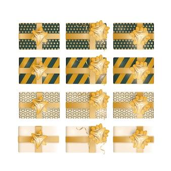 Set di confezione regalo 3d. la raccolta di regali realistici presenta una vista dall'alto. illustrazione vettoriale.