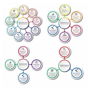Set di modello di progettazione infografica 3d