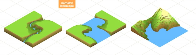 Imposta mappa isometrica 3d con transizioni di vertici. paesaggio piatto colorato. viaggi, turismo, navigazione e background aziendale. illustrazione di topografia isolata. icone per mappe della città, giochi