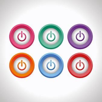 Set di pulsanti di alimentazione 3d