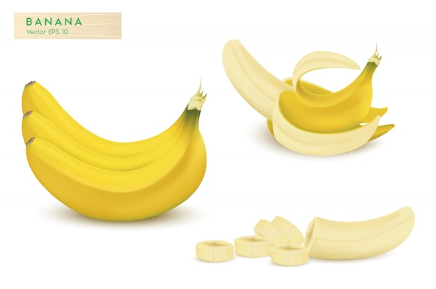 Insieme delle banane realistiche dell'illustrazione di vettore 3d.