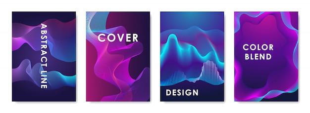 Set di 4 copertine di design con forme sfumate astratte.