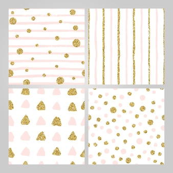 Set di 4 modelli senza cuciture disegnati a mano in oro, rosa pastello. righe, pois, triangoli, pennellate rotonde. trama infinita astratta per carta da imballaggio moderna, cartolina, social media