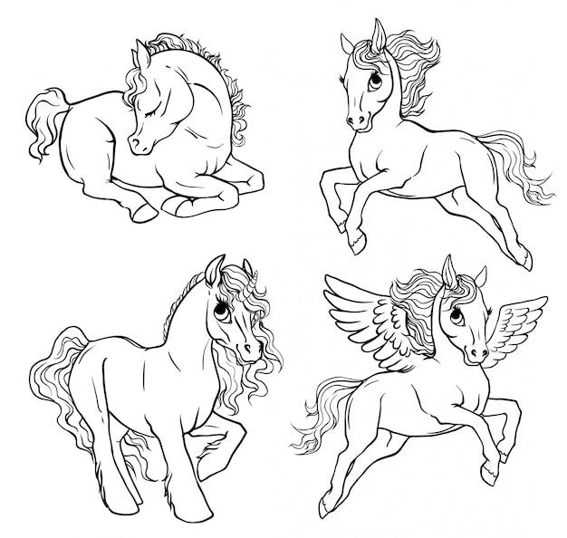 Set 4 pagine da colorare pony.