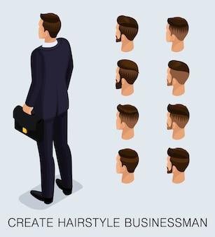Set 4 uomo d'affari 3d isometrico alla moda
