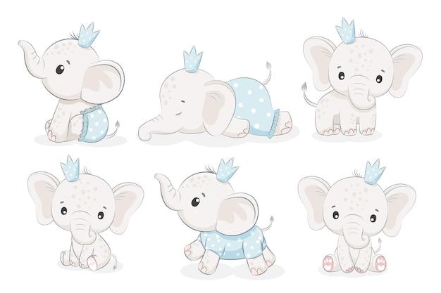 Set di 6 simpatici elefanti. illustrazione vettoriale di un fumetto